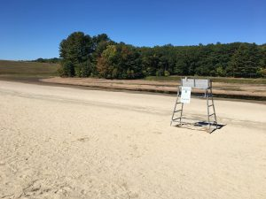Signs of Drought at Hopkinton State Park Main Swimming Beach
