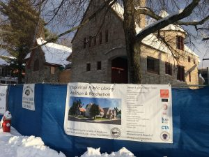 Hopkinton Library Under Construction in snow