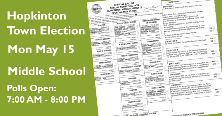 Vote Monday for Selectmen, Planning Board, Parks & Rec, Library Trustee and 6 Ballot Questions
