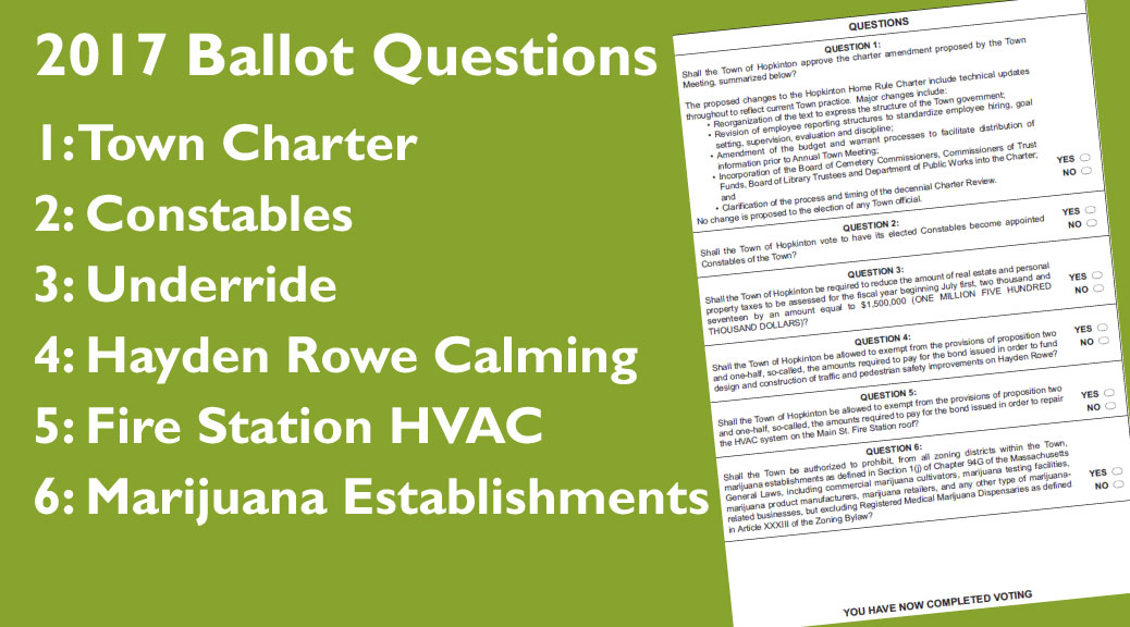 Six Ballot Questions at the 2017 Town Election
