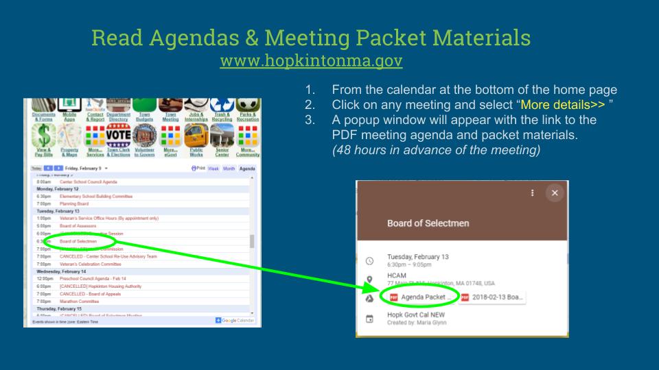 Read Agendas & Meeting Packet Materials