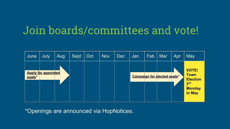 Join boards/committees and vote!