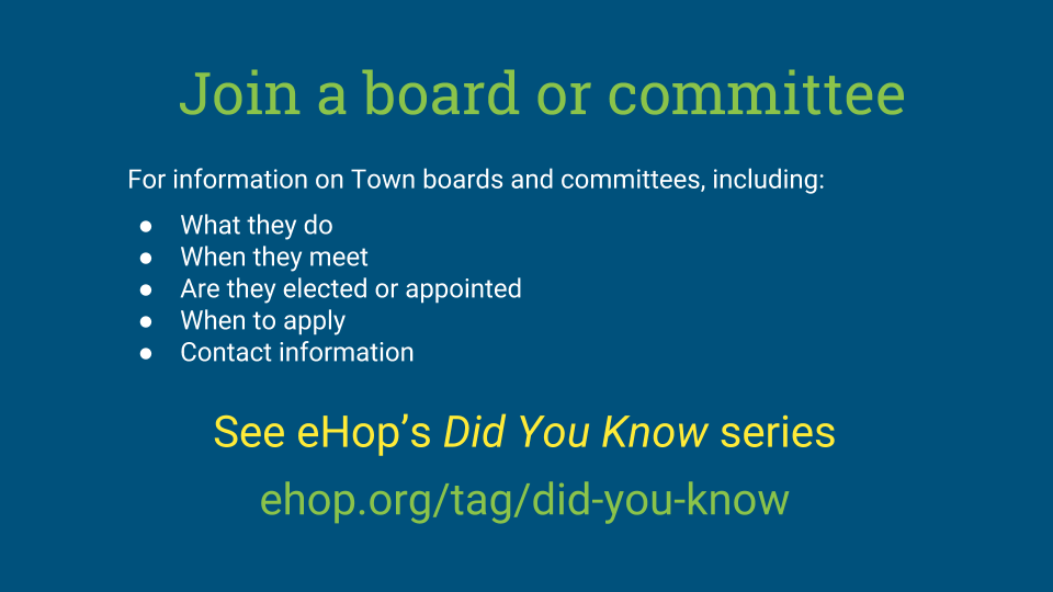For information on Town boards and committees