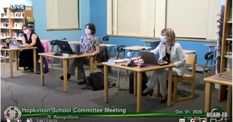 School Committee Actions Taken 10/01/20