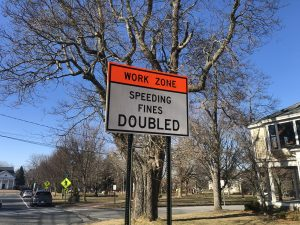 Work Zone Sign at the Common